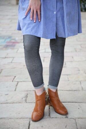 טייץ ג'ינס אפור כהה