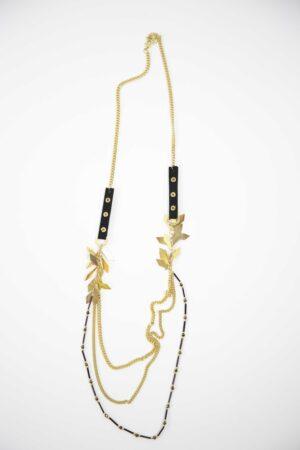 שרשרת ארוכה בצבע זהב ושחור